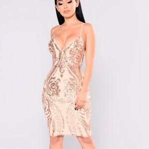 Ashe Sequin Dress - Rose Gold